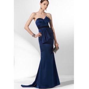 BCBGMaxazria Duchess Satin Strapless Dress Blue 8